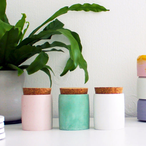 Lidded Cylinder Pots - Available in 6 colours/marbles