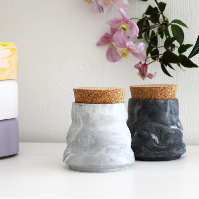 Lidded Ripple Pots - Available in 6 colours/marbles