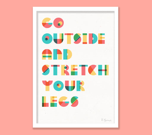 Go Outside 3-colour screenprint