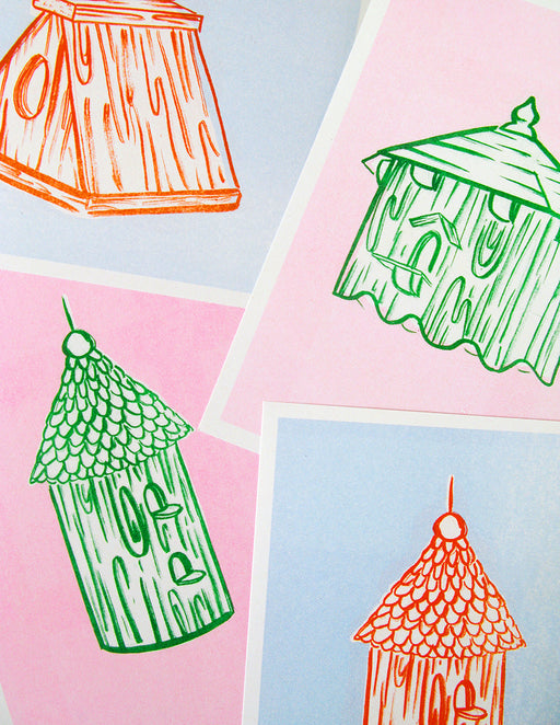 Birdhouse riso print postcards (pack of 4)