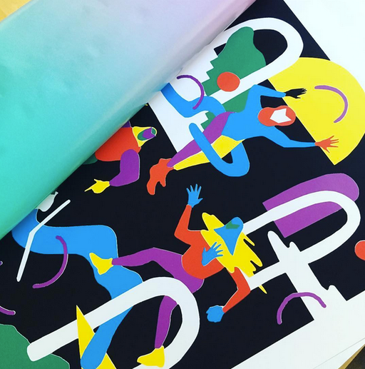 Bright and colorful screenprint: The Party 6c a2 edition of 100