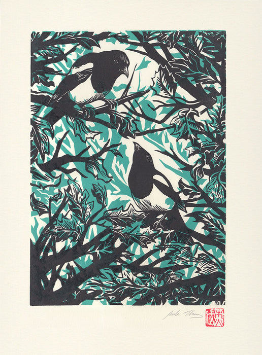 'Two for Joy' Magpie Print