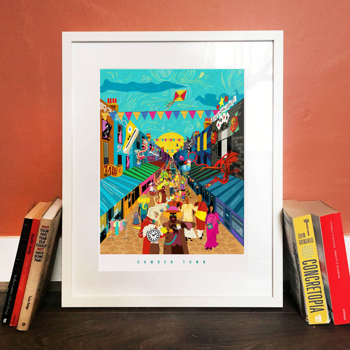 Camden Market London Illustrated Art Print