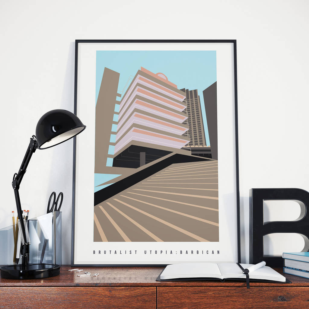 Brutalist London :  The Barbican Illustrated Art Print