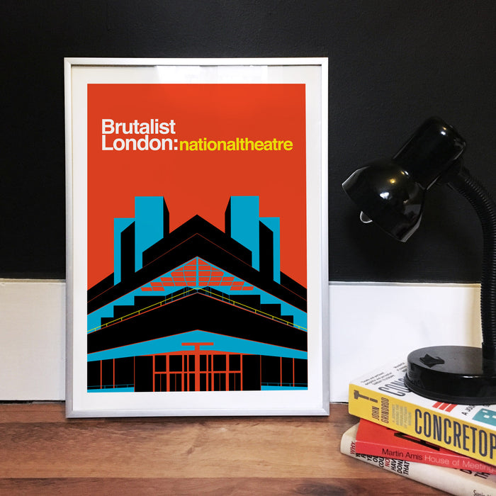 Brutalist London :  The National Theatre Illustrated Art Print