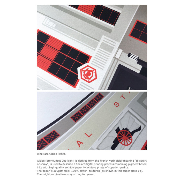 Art Deco London :  The Old Arsenal Stadium Illustrated Art Print