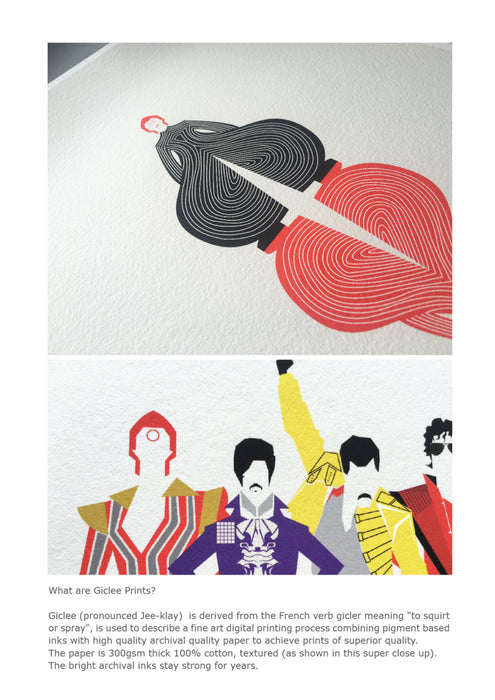 'The Cape from Japan' Illustrated Art Print inspired by a Bowie Song.