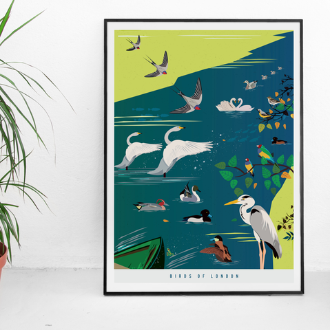'Birds of London' Illustrated Art Print