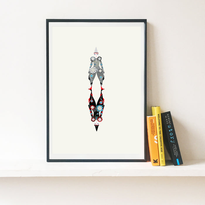 'The Blue Clown Bowie' Illustrated Art Print inspired by David Bowie