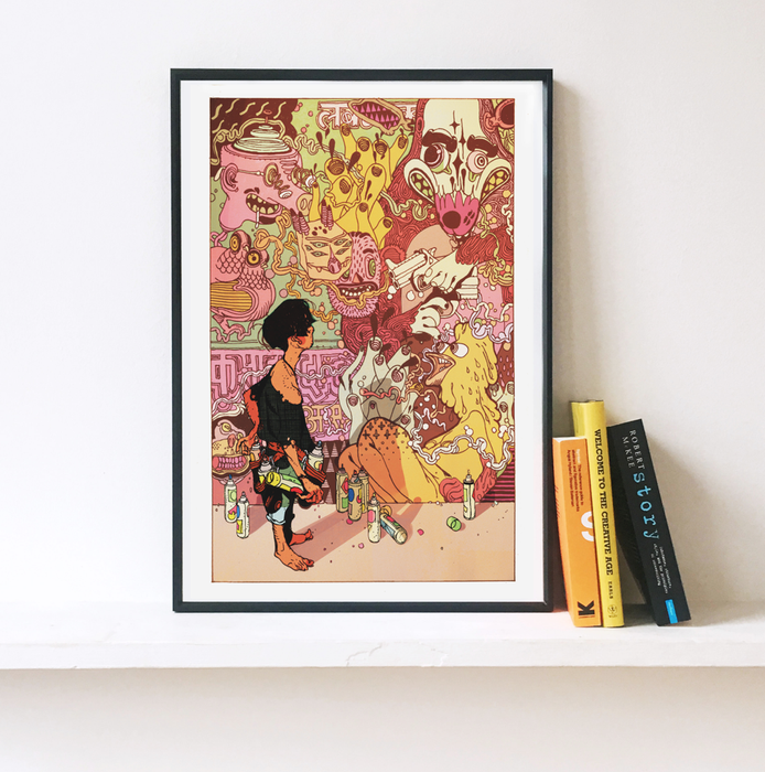 Grafity's Wall. A Special Edition Illustrated Art Print.