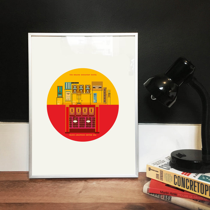 The Grand Budapest Hotel Movie Print - Up side down Illustrated Art Print.