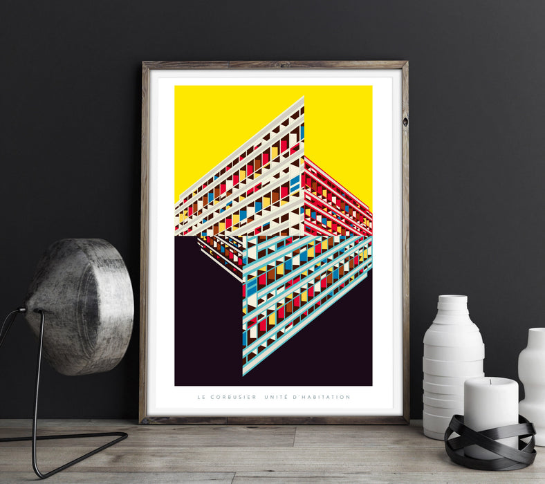 Le Corbusier's Unité d'habitation Illustrated Art Print