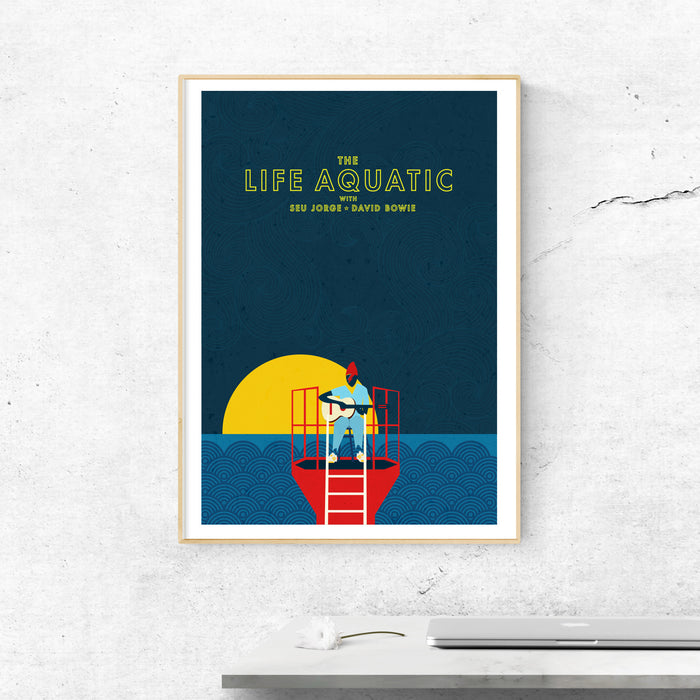 The Life Aquatic featuring David Bowie Illustrated Art print