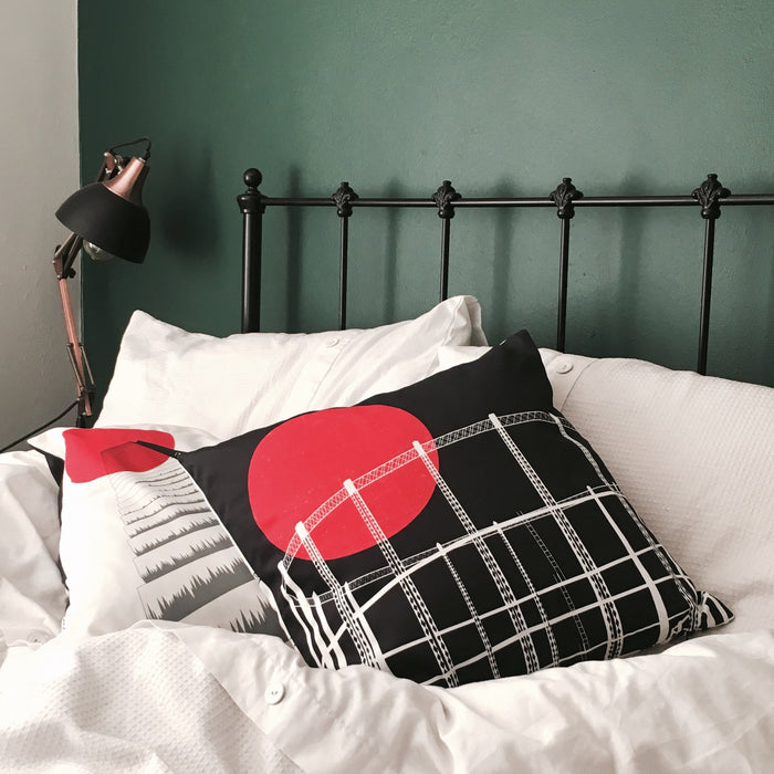 Blood Moon Hackney Cushion Cover. Printed front and back. 45 x 45 cm. Textured Cotton Fabric. (cover only)