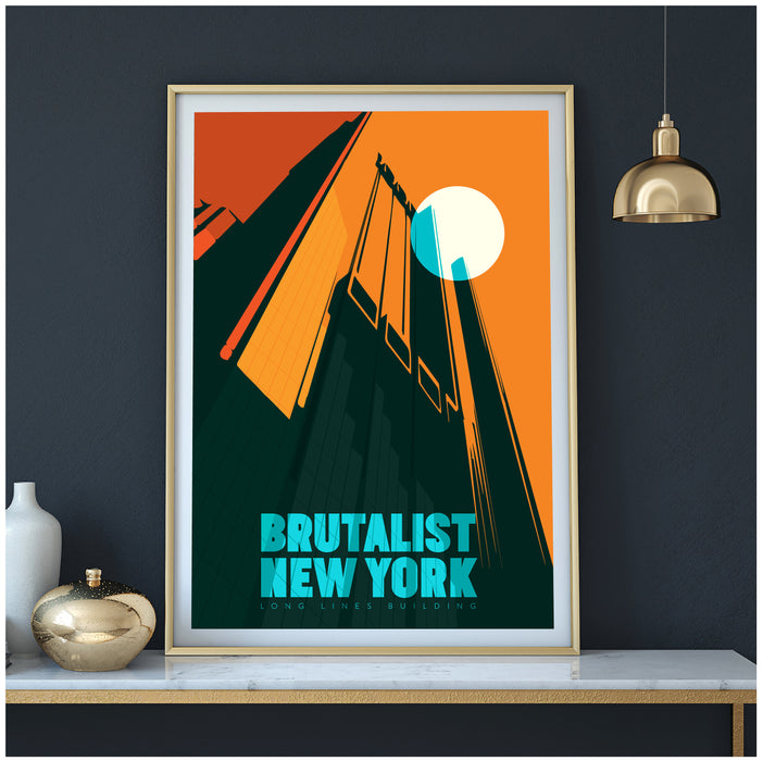 Brutalist New York Poster - Long Lines Building Illustrated Art Print