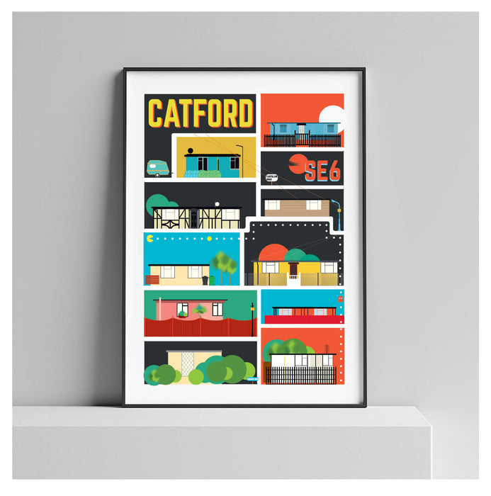 Excalibur Estate, Catford London - A Prefab Maze. Illustrated Poster Art Print