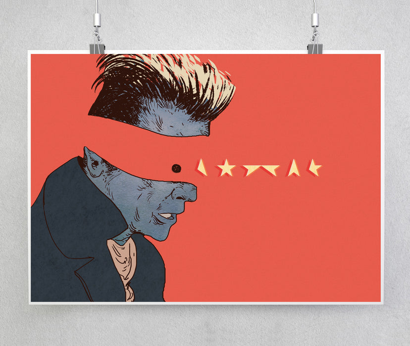 David Bowie, The Lost Star. Illustrated Art Print.