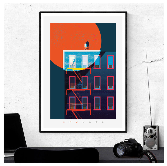 New York Noir Illustrated Art Print.