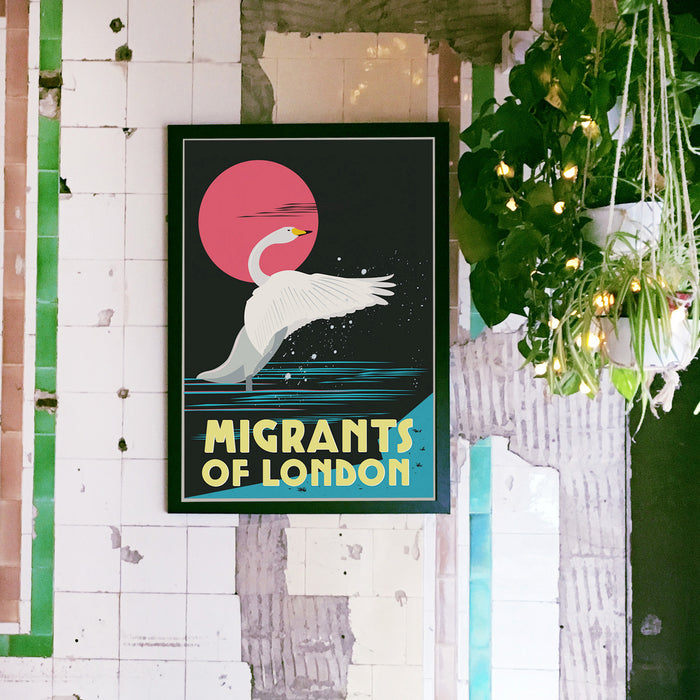Migrants of London featuring the migratory birds of London. Giclee Art Print.