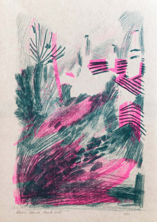 Coastal village - Risograph
