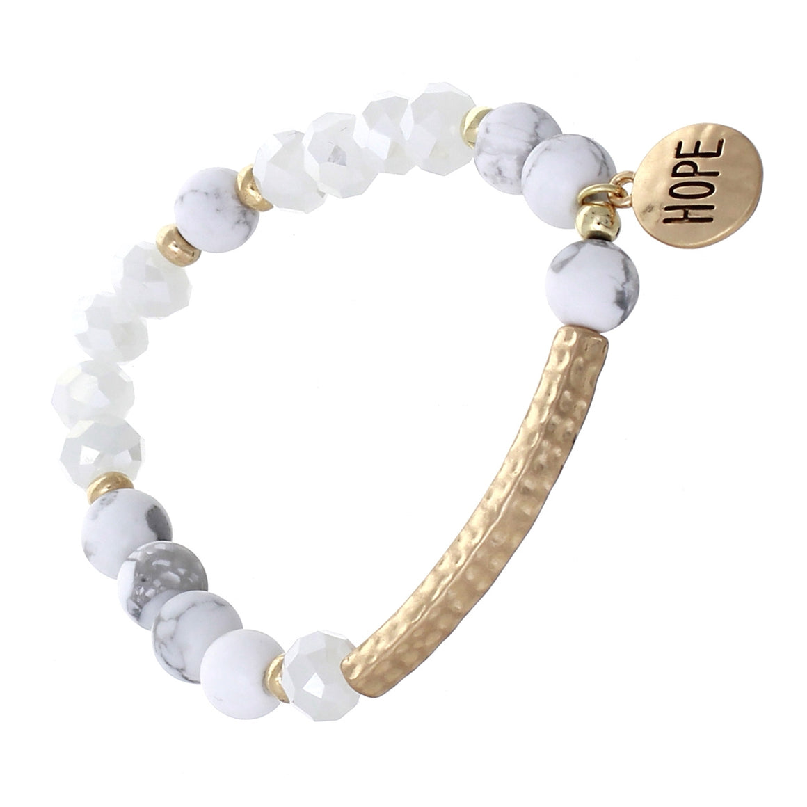 """Hope"" Natural Stone Bracelet with Charm"