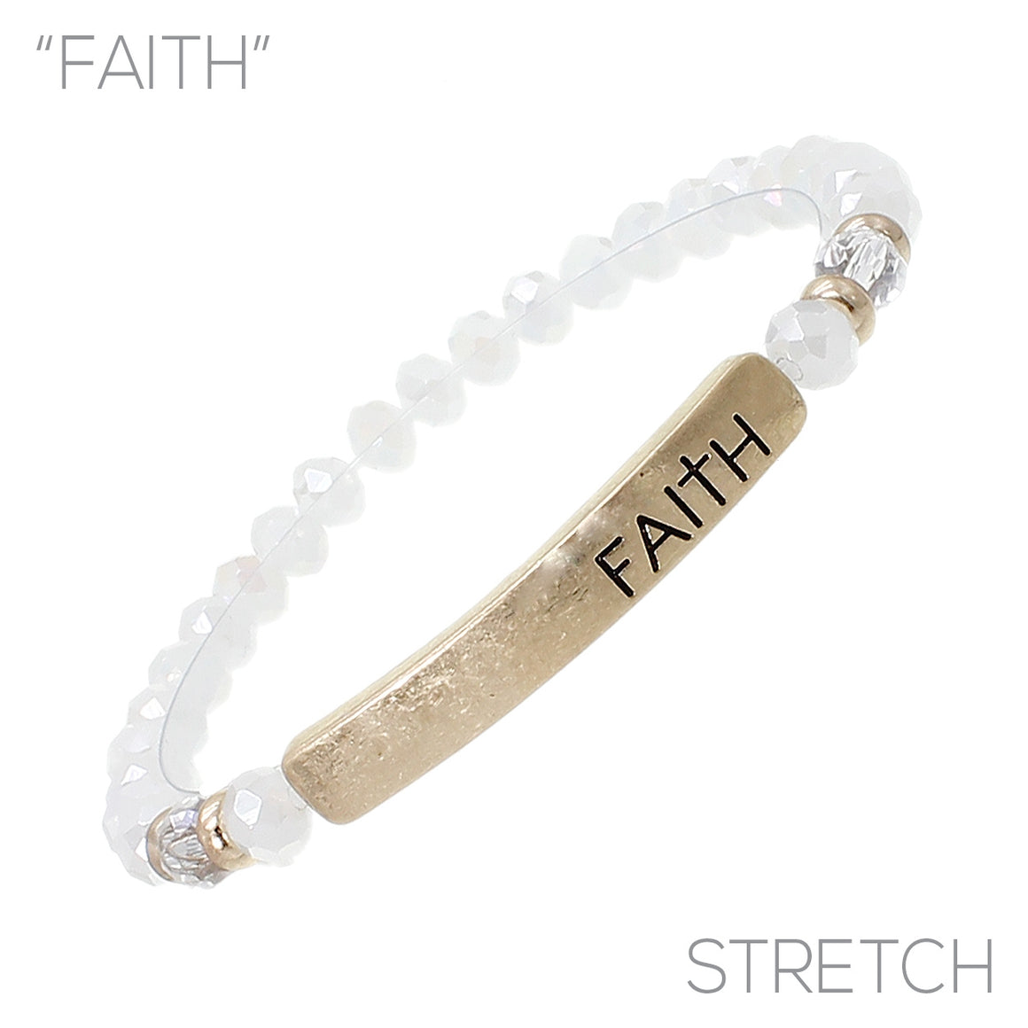 """Faith"" Glass Bead Stretch Bracelet"