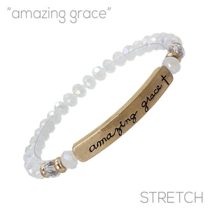 """Amazing Grace"" Glass Bead Stretch Bracelet"