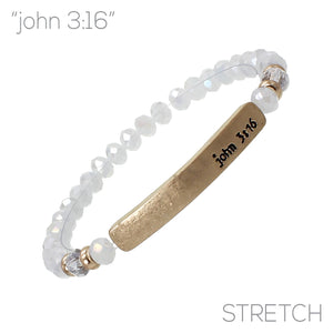 """John 3:16"" Glass Bead Stretch Bracelet"