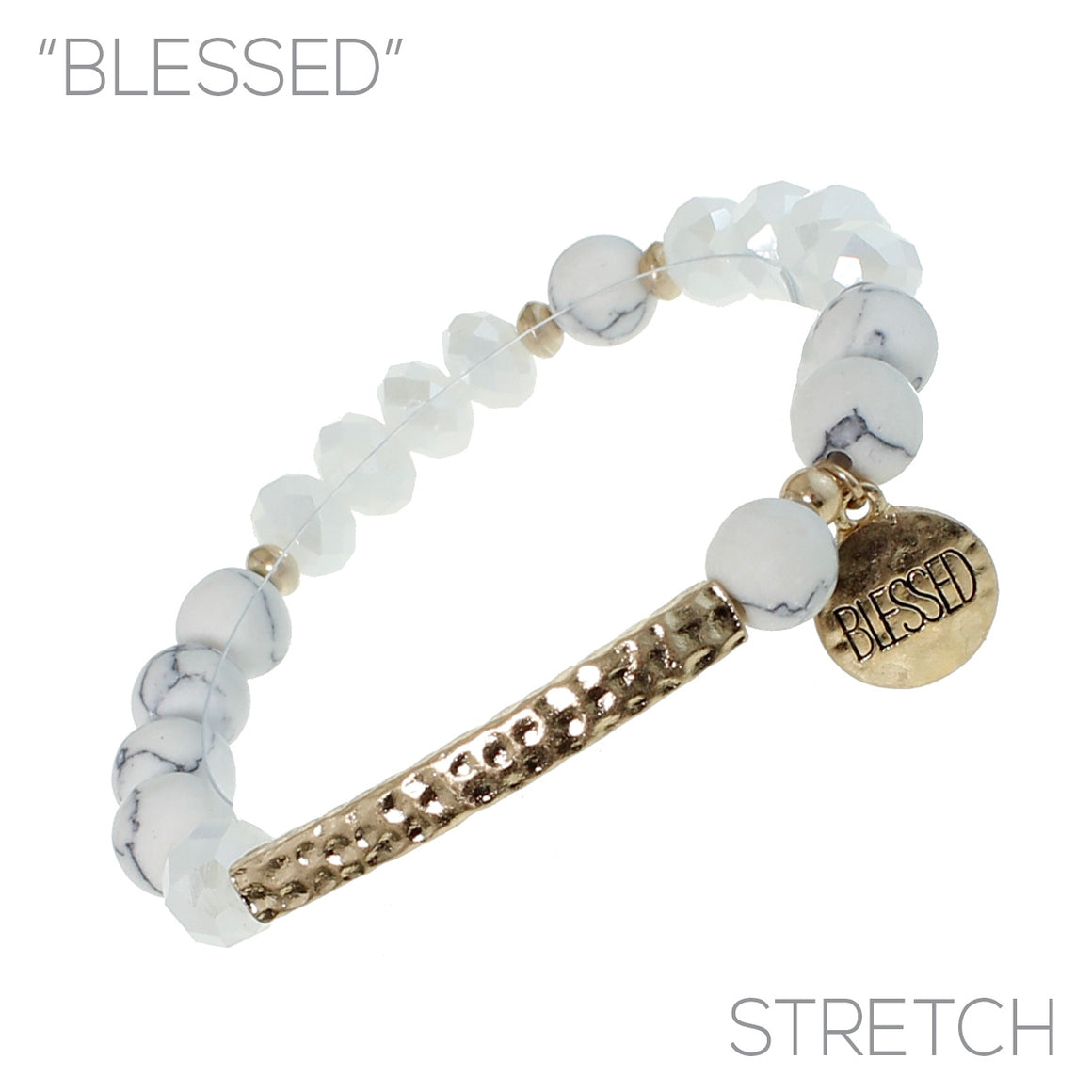 """BLESSED"" Natural Stone Bracelet with Charm"