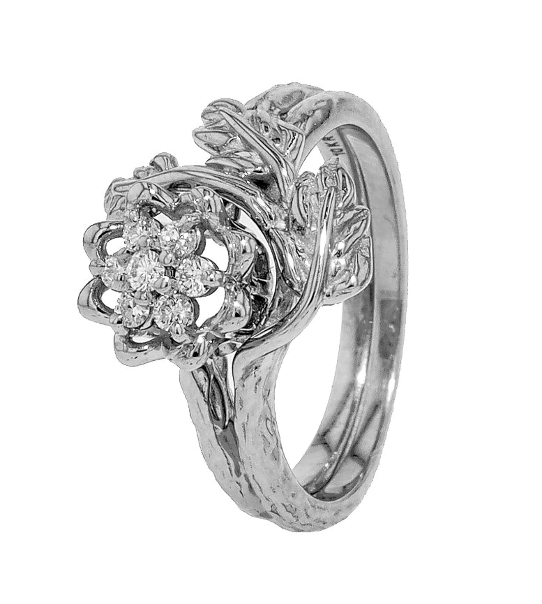 Tulip Ring Leaf Wrap - White Gold