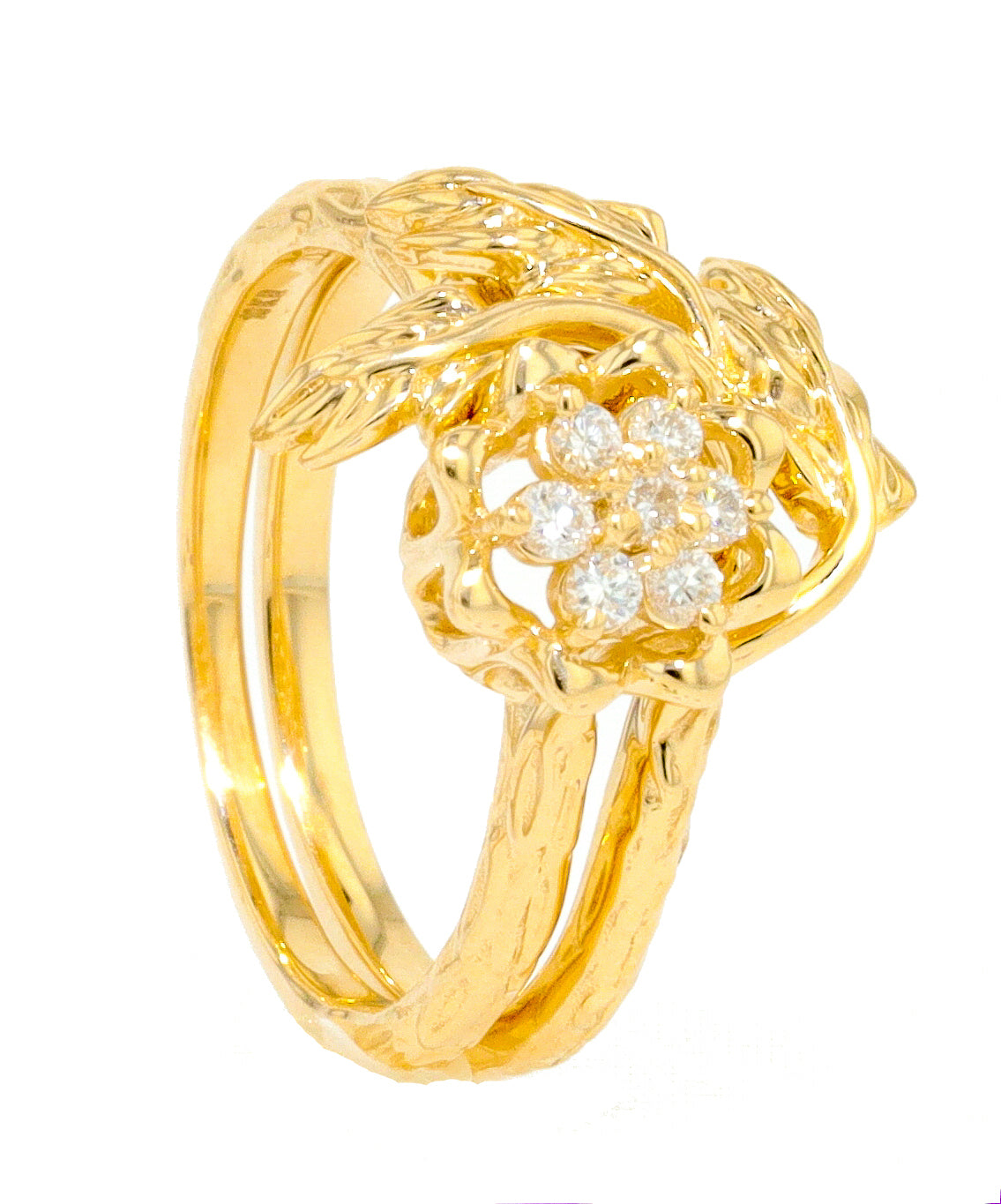 Tulip Ring Leaf Wrap - 10K Yellow Gold