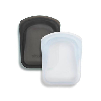 Silicone Reusable Pocket Bag (Set of 2) - Clear & Ash