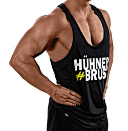 #Hühnerbrust – Stringer schwarz - Satire Gym Fitness T-Shirt Gym wear