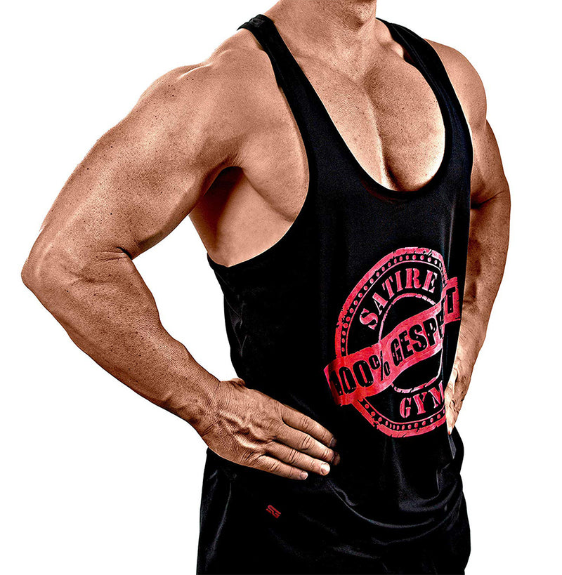 100% GESPRITZT schwarz Stringer - Satire Gym Fitness T-Shirt Gym wear