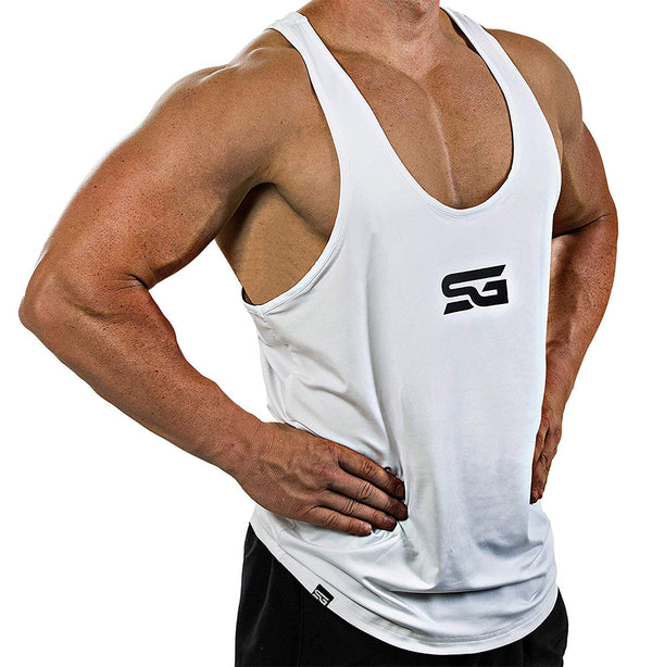 Satire Gym Performance Stringer weiß - Satire Gym Fitness T-Shirt Gym wear