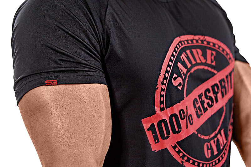 100% GESPRITZT T-Shirt schwarz - Satire Gym Fitness T-Shirt Gym wear