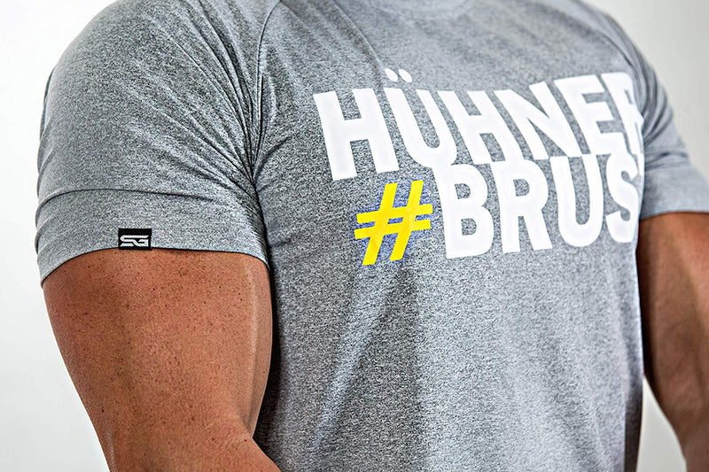 #Hühnerbrust – T-Shirt grau - Satire Gym Fitness T-Shirt Gym wear