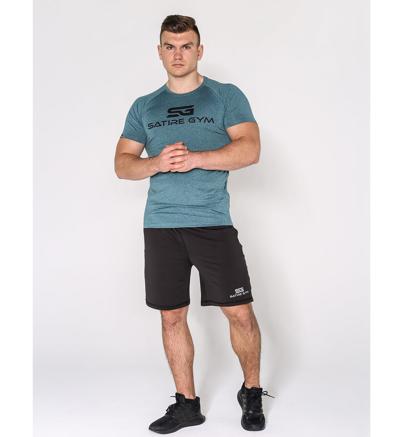 Satire Gym Logo Shirt - petrol meliert