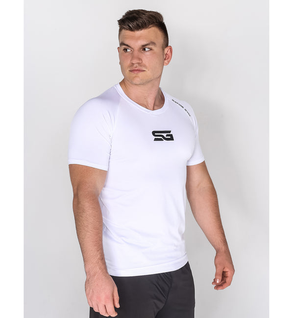 Performance T-Shirt V-Neck Style weiß