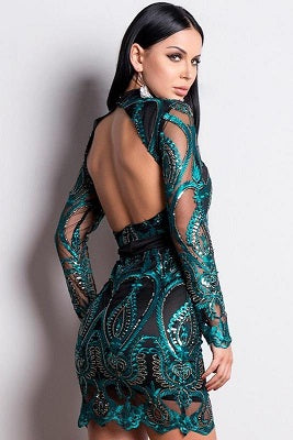 Green Black Open Back Party Dress