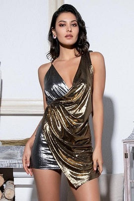Gold Silver Sleeveless Club Dress