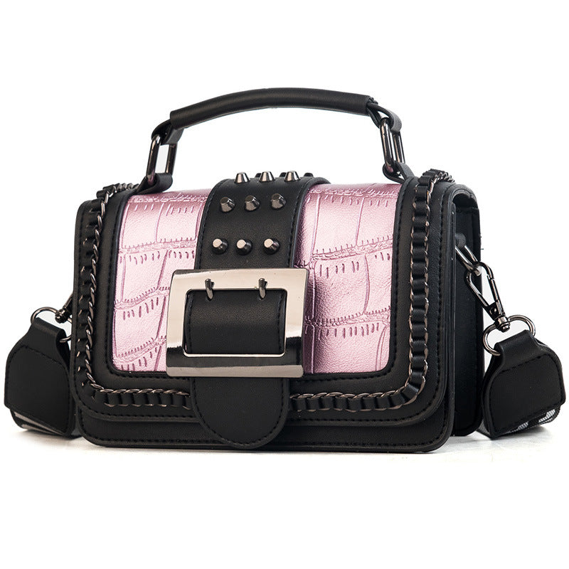 Hip Flap Shape Riveted Top Handle Crossbody Shoulder Bag