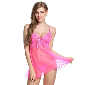 Hot & Sexy Transparent Floral Lace Nightwear Lingerie Set Verkadi.com