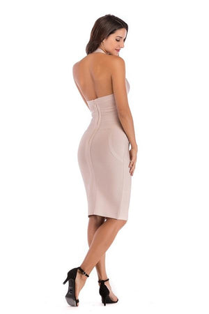 Sleeveless Halter Bodycon Midi Dress