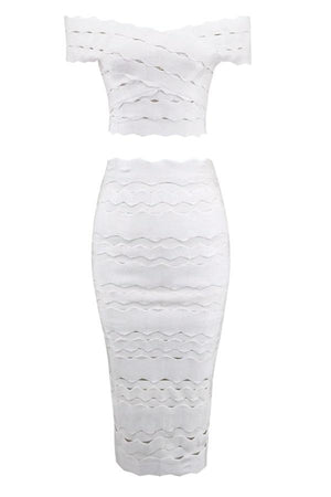 Off Shoulder Bandage Pencil Bodycon Hollow Out Midi Dress