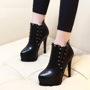 Style Riveted Platform Super Thin High Heel Boots verkadi.com