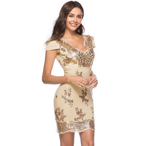 Sexy Sequin Backless Short Sleeve Bodycon Mini Party Dress Verkadi.com