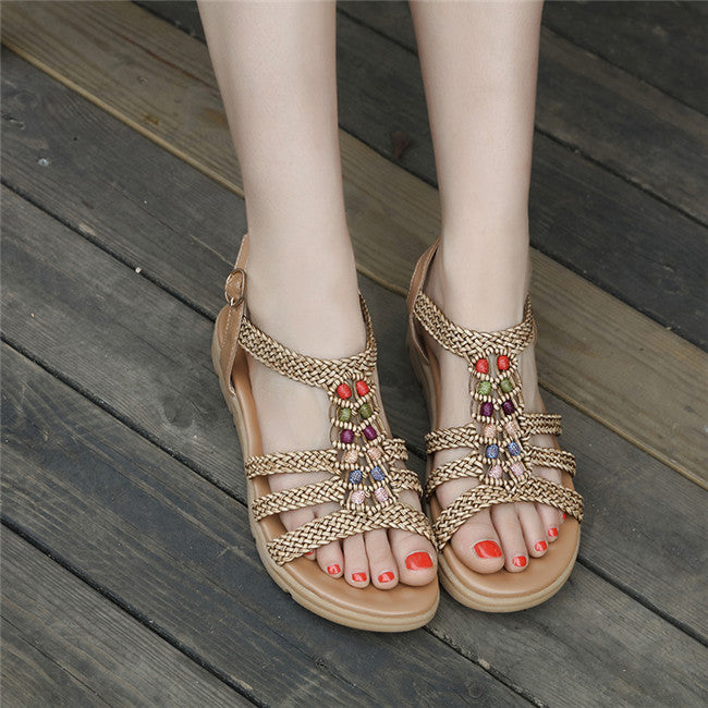 Woven Bohemia String Beaded Gladiator Women Sandals