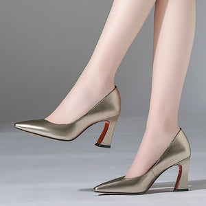 Exquisite Real Leather Pointed Toe Slip On Pumps Shoes Verkadi.com