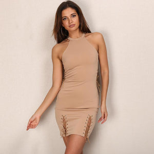 Solid Color Side Bandage Halter Sleeveless Mini Dress Verkadi.com
